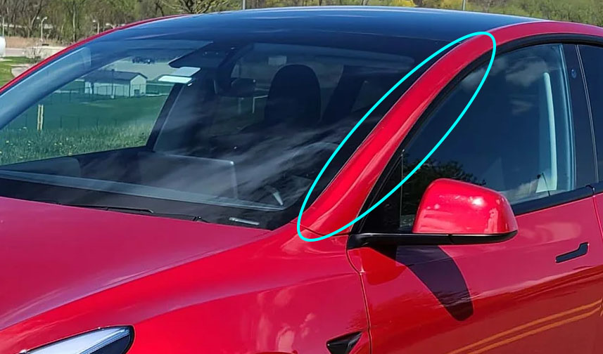 A Pillar Dents Tesla Model Y